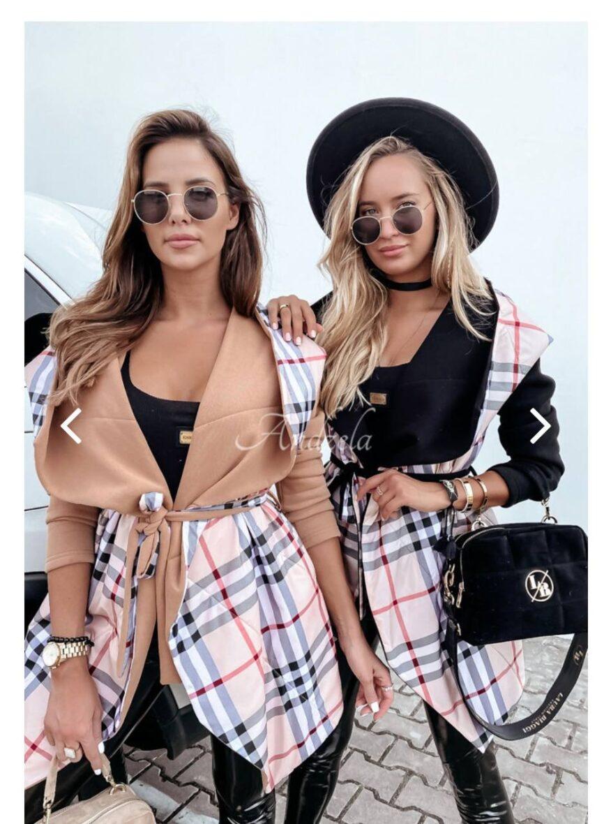 UPL kockás kabát- fekete és bézs